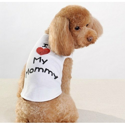 T-SHIRT BLANC I LOVE MY MOMMY POUR CHIEN