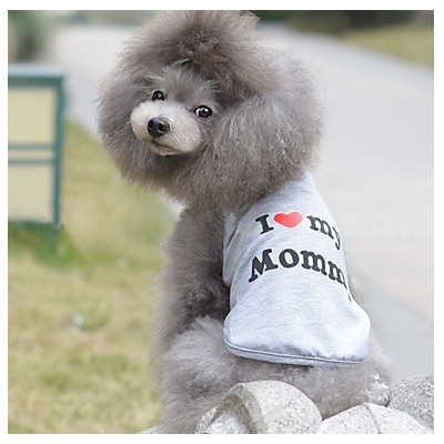 T-SHIRT GRIS I LOVE MY MOMMY POUR CHIEN