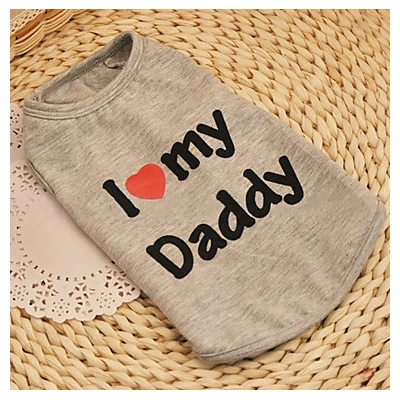 T-SHIRT GRIS I LOVE MY DADDY POUR CHIEN