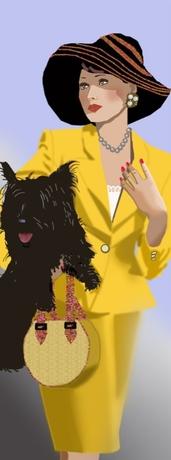 la dame et son chien noir