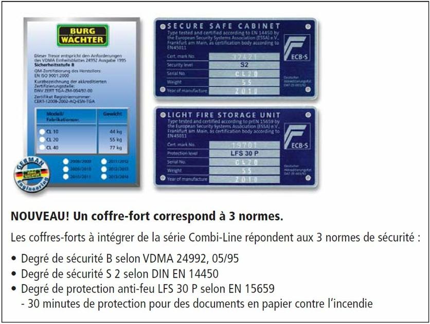 Perfekt Coffre-fort blindé ignifuge BURG WÄCHTER CL20E Serrure  RF52