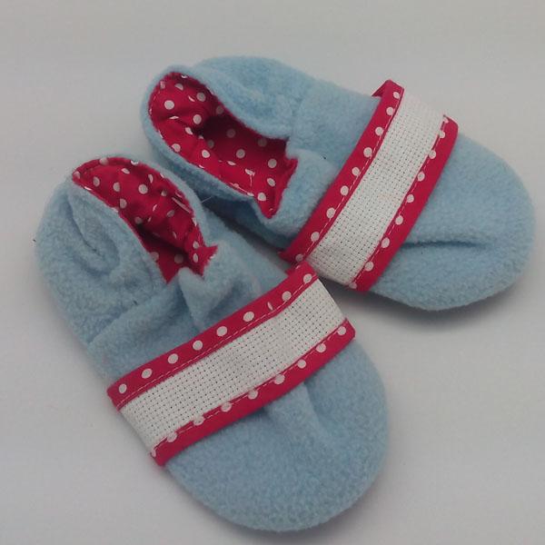 chaussons bleu rose