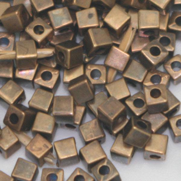 perles carrées bronze