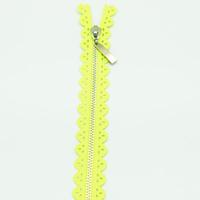 Fermeture dentelle 18 cm fluo jaune