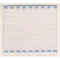 Galon aida coloris blanc avec feston bleu ciel 10 cm