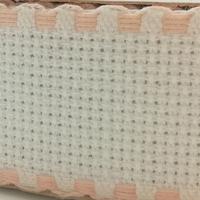 Galon aida coloris blanc avec feston pèche 3 cm