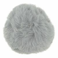 Pompom 10 cm fausse fourrure gris