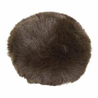 Pompom 10 cm fausse fourrure marron