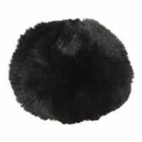 Pompom 10 cm fausse fourrure Noir