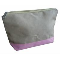 Pochette zippée rose et lin