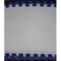 Galon aida coloris blanc avec feston bleu 5 cm