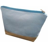 Pochette zippée bleu et lin