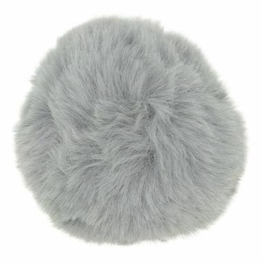 Pompom fausse fourrure gris