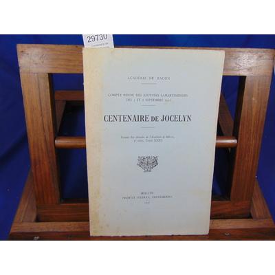Collectif  : Centenaire de Jocelyn. Compte rendu des journées Lamartiniennes 1936...