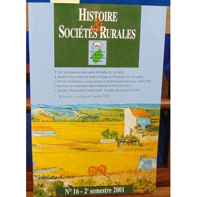 collectif  : histoire et sociétés rurales N°16, 2e semestre 2001...