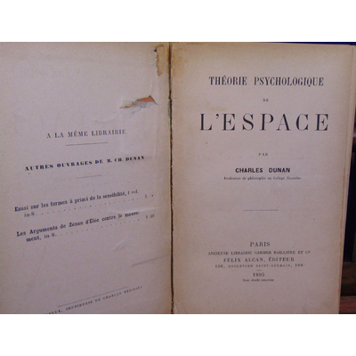 Dunan charles : Théorie psychologique de l'espace...