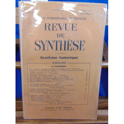 collectif  : REVUE DE SYNTHESE - 1948 tome XXIII:  le Catharisme...