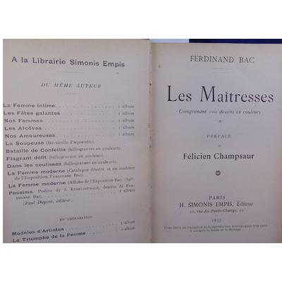 Bac Ferdinand : Les maîtresses...