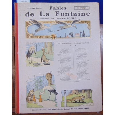 Fontaine Jean de : Fables de la fontaine 1906 (illustrations de Rabier ) 1er recueil...