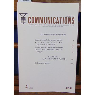 Collectif  : Recherches sémiologiques. Communications  -4  1964...