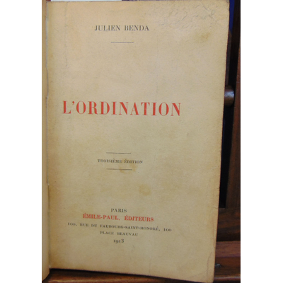 Benda julien : L'ordination...