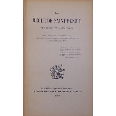 : La règle de Saint Benoit traduite et commentée...
