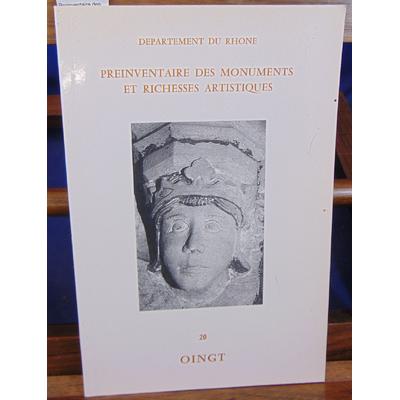 : Préinventaire des monuments du Rhone : Oingt...