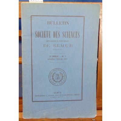 : Bulletin de la société des sciences de Semur 2e série N°7 Années 1892 1893...