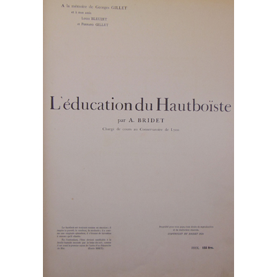 BRIDET  : L'EDUCATION DU HAUTBOÏSTE...