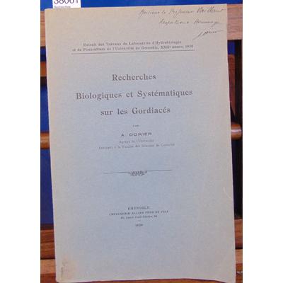 Dorier  : Recherches Biologiques et Systématiques sur les Gordiacés...