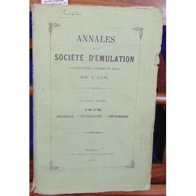 : Annales de la société impériale d'émulation de L'Ain 1873...