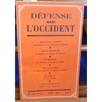Divers  : Défense de l'occident. N°31 Avril 1963...