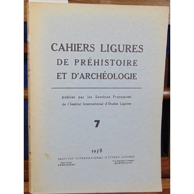 Meier  : Cahiers Ligures de Préhistoire N°7 1958...