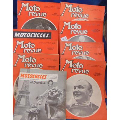 : Lot de 9 N° de Moto revue 1955 + 1 Mototcycles 1954...