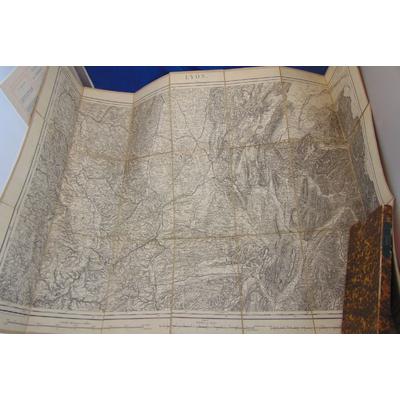 : 1874 - Carte Lyon  1/320000 (région Rhone, Isere ,Loire Savoie, Haute Savoie ) ...