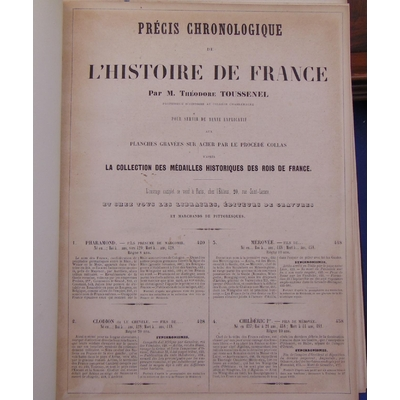 toussenel  : Précis Chronologique de L Histoire de France. Pour servir de texte explicatif aux planches gravée