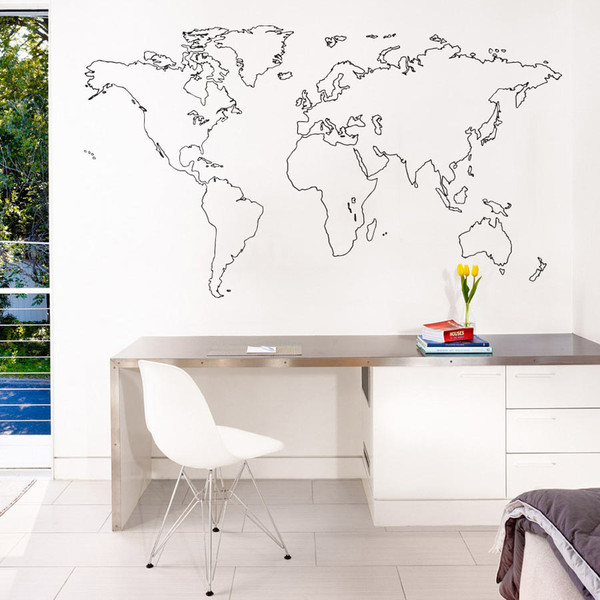 sticker mural carte du monde decoration des murs des bureaux. Black Bedroom Furniture Sets. Home Design Ideas