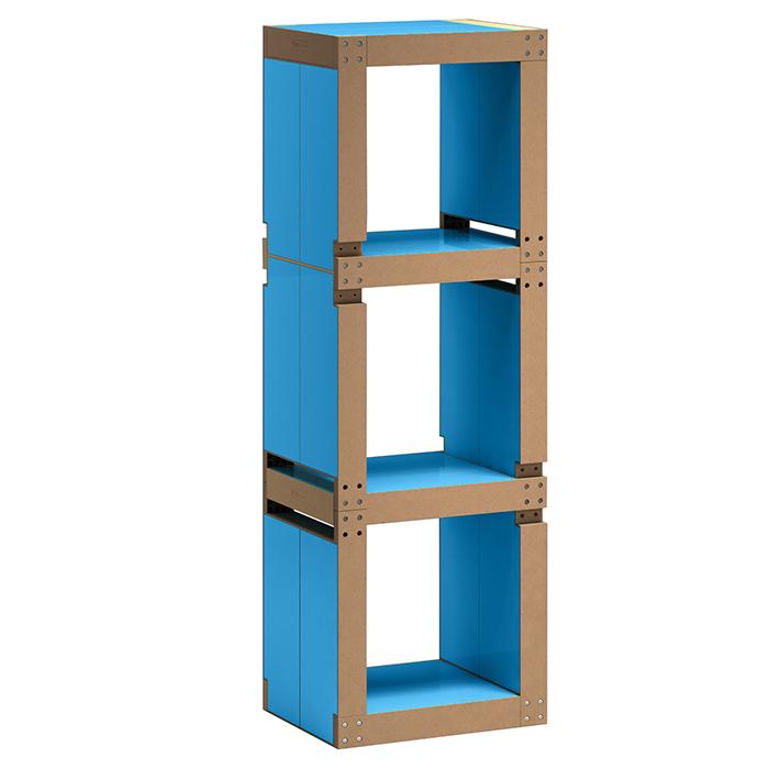etag re de bureau design bleu fluo structure noire ou bois. Black Bedroom Furniture Sets. Home Design Ideas