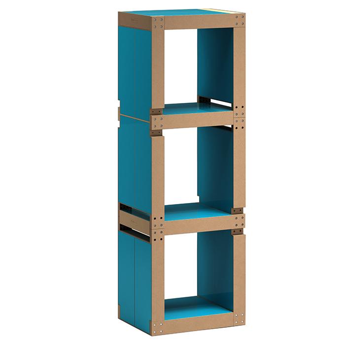 Etagère De Bureau Design Bleue Pétrole - Structure Noire Ou Bois