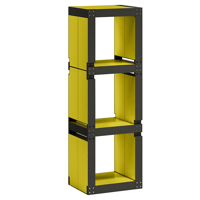 etag re de bureau design jaune structure noire ou bois. Black Bedroom Furniture Sets. Home Design Ideas