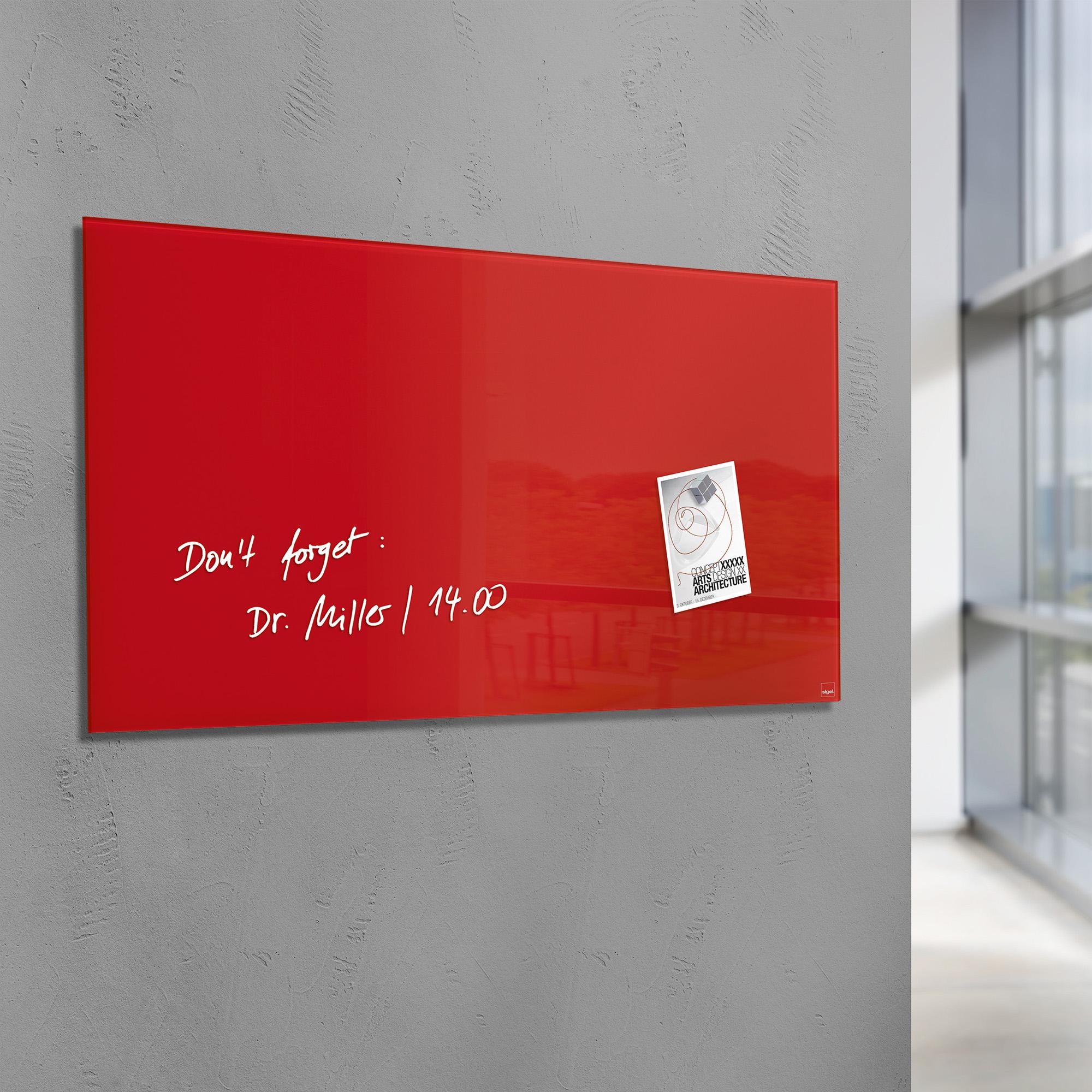 tableau rouge aimant en verre pour les bureaux. Black Bedroom Furniture Sets. Home Design Ideas