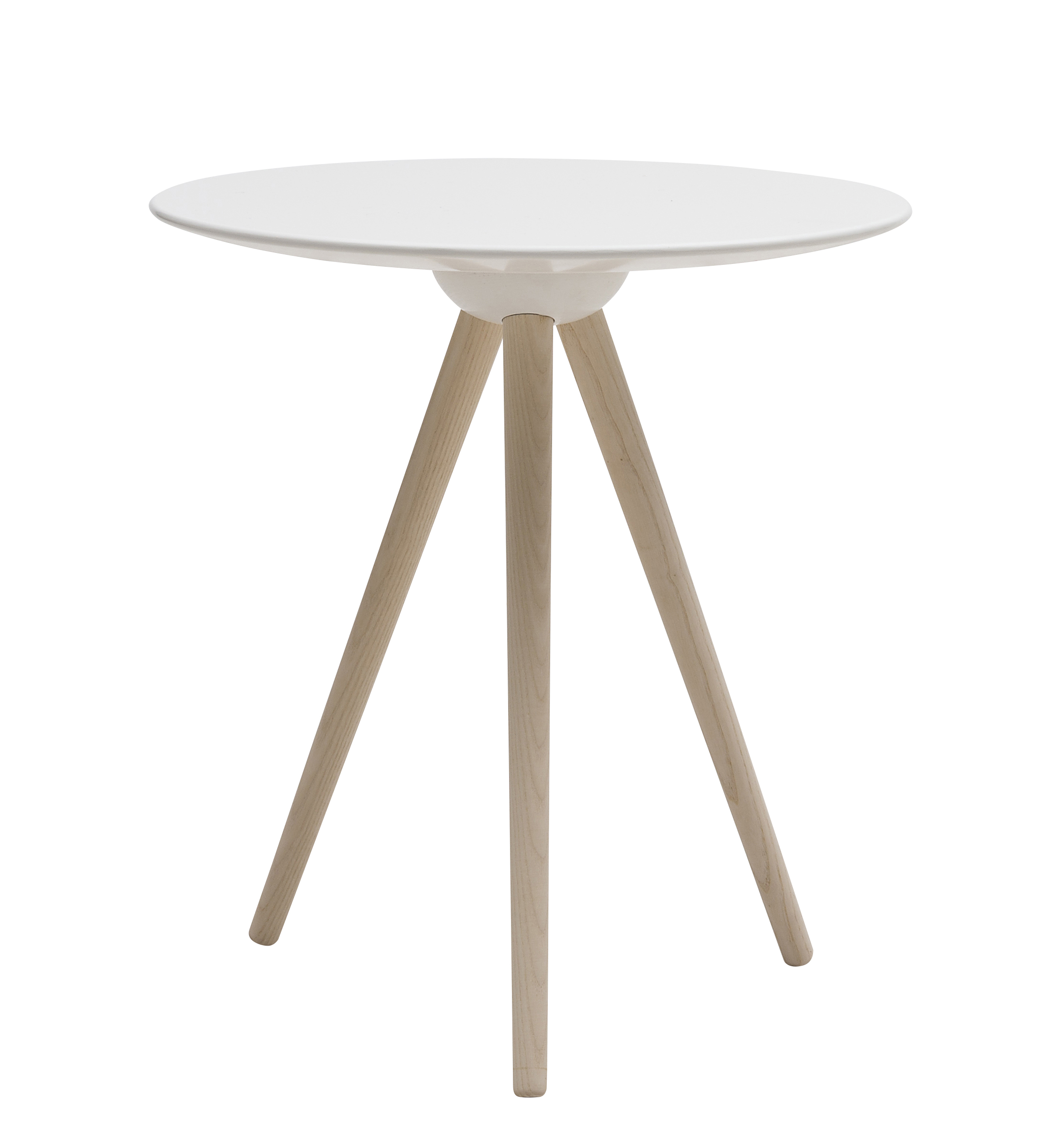petite table ronde scandinave avec pieds bois et plateau blanc. Black Bedroom Furniture Sets. Home Design Ideas