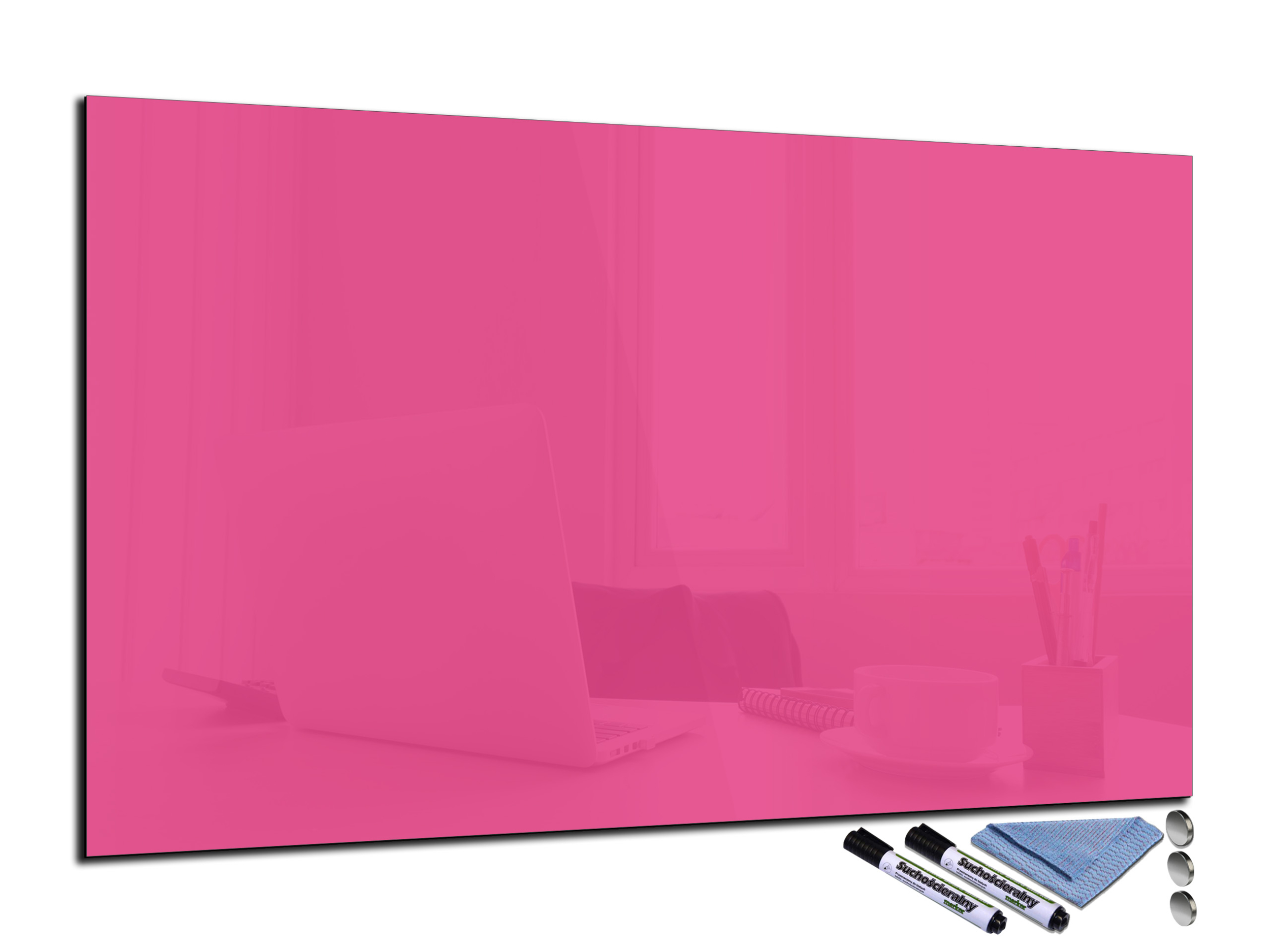 tableau magn tique rose fushia en verre effa able. Black Bedroom Furniture Sets. Home Design Ideas