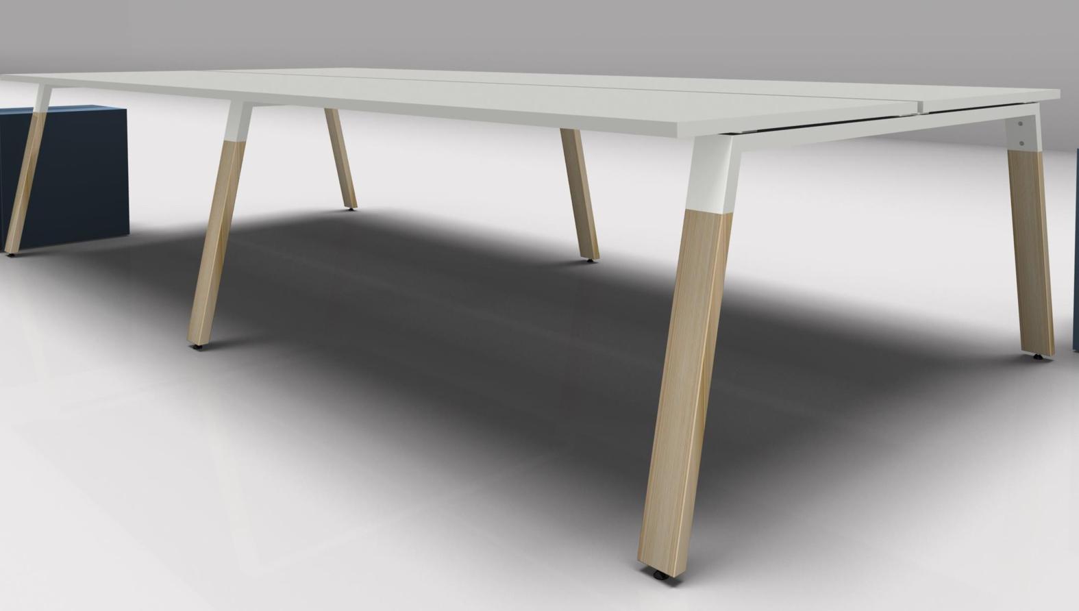 Bureau bench pour 2 personnes avec piétement bois mobilier