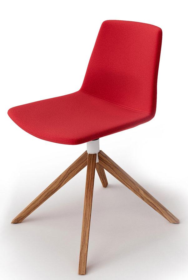 Chaise tapissée et pieds bois Clue
