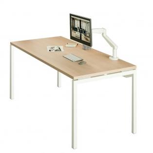 bureau individuel chêne clair piétement blanc
