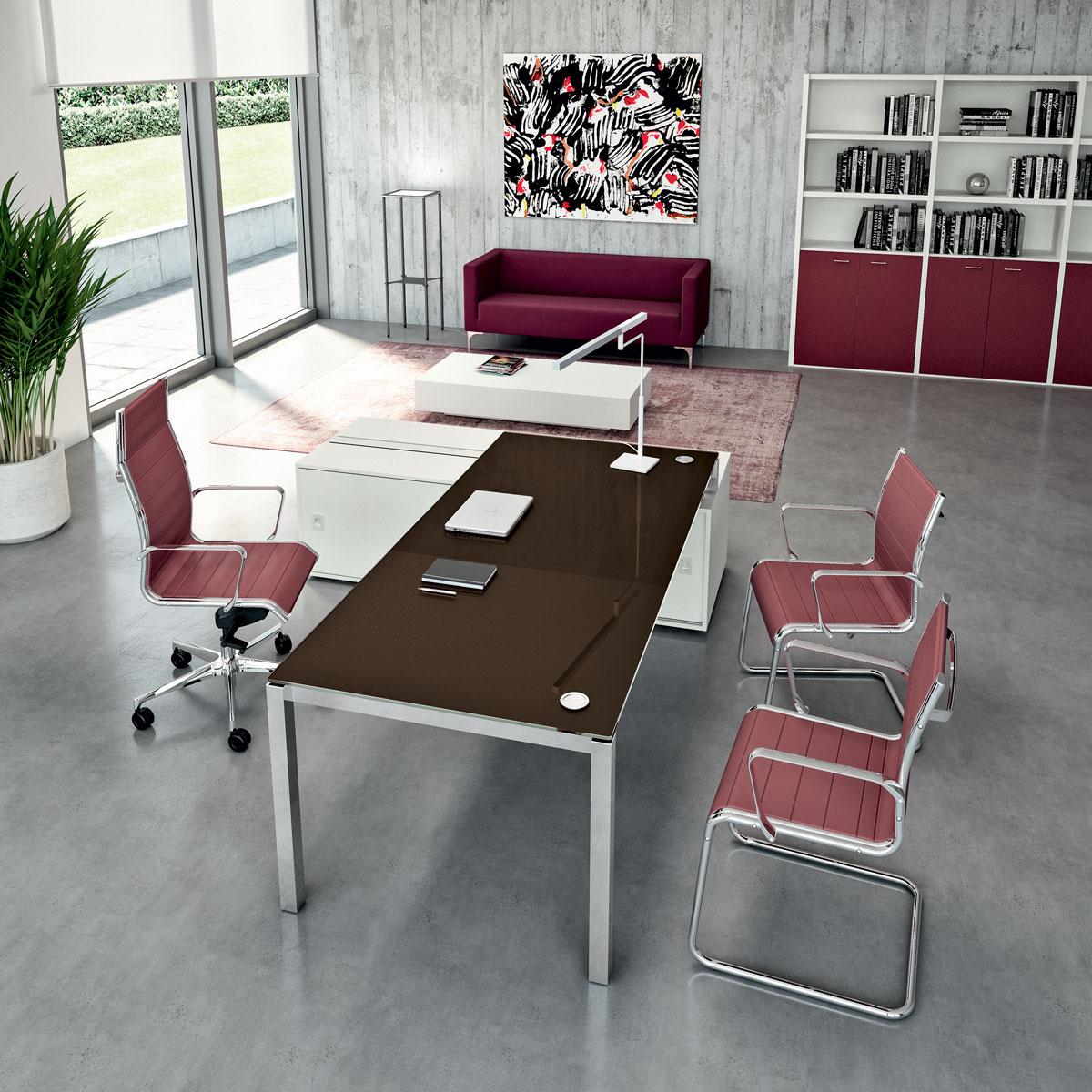 Bureau en verre moka X4
