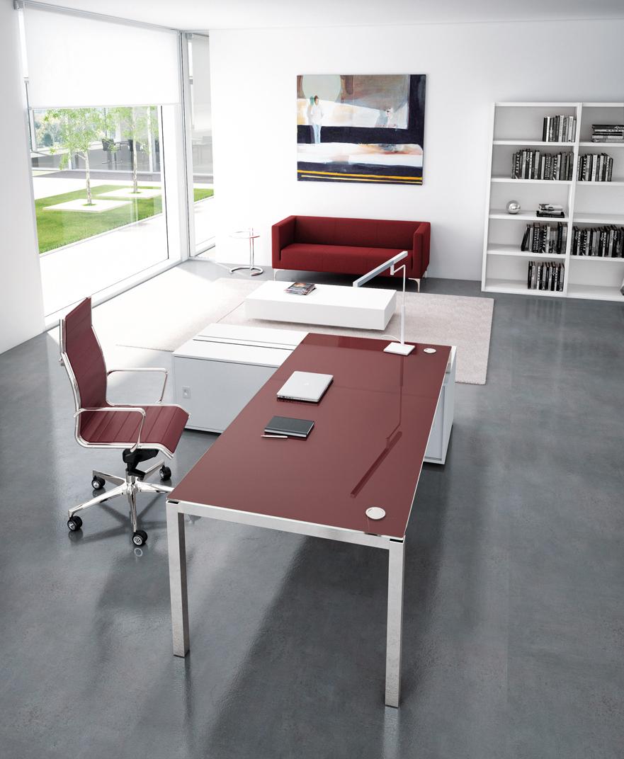 Bureau en verre rouge X4