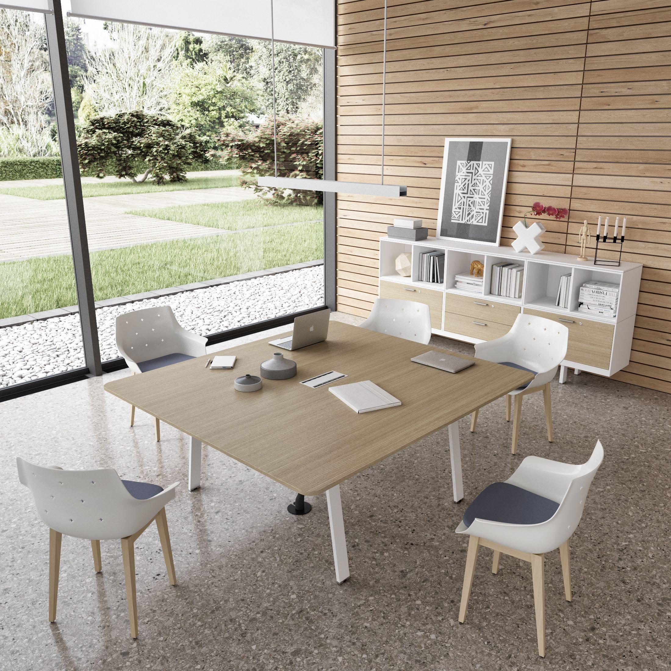 Table de réunion design en bois Evo avec top access