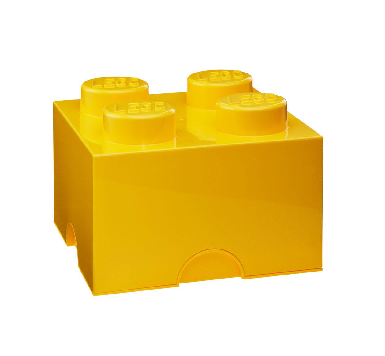 Lot de 6 boites de rangement Lego jaune 4 plots